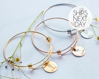 Birth Month Flower Bangle Bracelet Personalized Gifts for Mom Holiday Personalized Jewelry October Birthday Gift Best Grandma Gift -ABR-LCFL