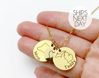 State Necklace Best Friend Gifts Personalized Necklace Long Distance Friendship Personalized Jewelry Birthday Gift for Her -LCN-LDS