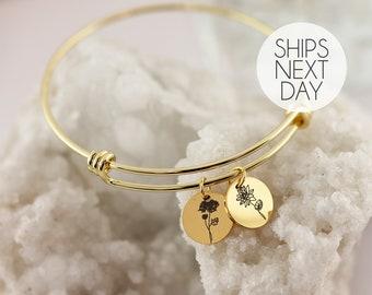 Flower Personalized Name Bracelet Gift for Mom Birthday Gift for Her Personalized Jewelry Flower Bangle Bracelet October Birthday - ABR-C-FL