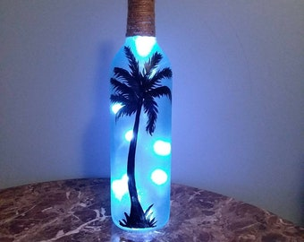 Hand painted Wine Bottle light with Battery Operated LED string lights. Made to order. Different Designs Available