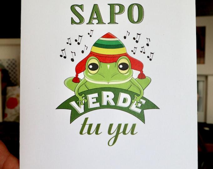 Featured listing image: Feliz Cumpleaños. Sapo verde. Frog.Spanish Birthday card. Happy Birthday-Sapo verde tu yu!