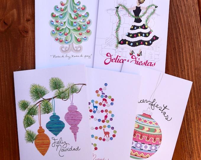 "Featured listing image: Set of 5 Spanish Christmas Cards 5""x7"" Feliz Navidad.Merry Christmas."