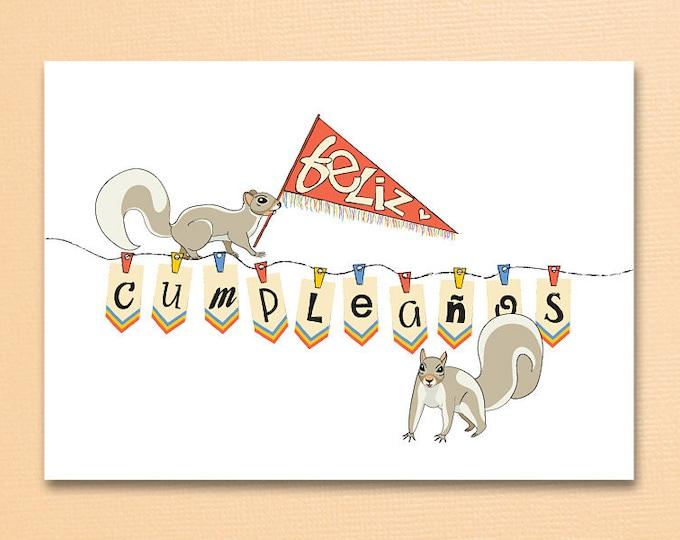 Featured listing image: Feliz Cumpleaños. Squirrels. Spanish Birthday card. Happy Birthday-Feliz Cumpleaños. 5''x 7'' Enviro recycled paper.
