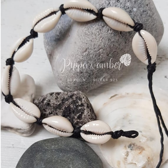 Stunning black wax cord choker necklace with a beautiful Cowrie shell