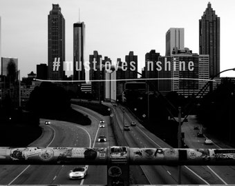 Atlanta skyline black and white
