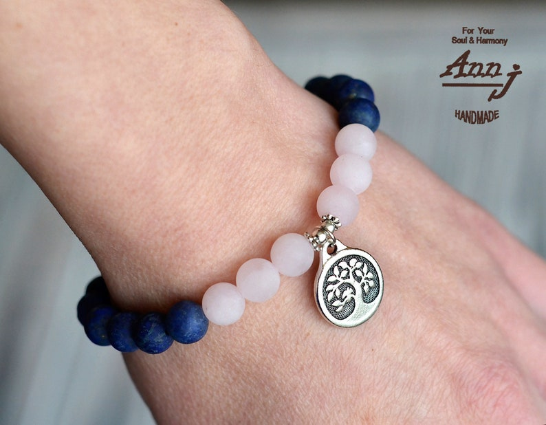 Tree of life bracelet Gift for mom Gift for sister Matte Lapis lazuli and Rose quartz bracelet Womens bracelet Tree of life Jewelry