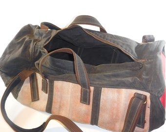 Recycled Firehose and Waxed Canvas Duffle Bag 920144313bac2