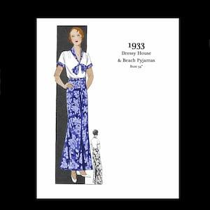 1930s Sewing Patterns- Dresses, Pants, Tops 1930s 30s 1933 Pyjamas Beach Pyjamas Nightwear Bust 34 E Pattern Reproduction PDF INSTANT DOWNLOAD $10.00 AT vintagedancer.com