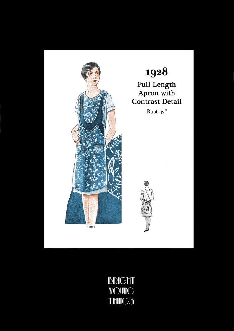 Vintage Aprons, Retro Aprons, Old Fashioned Aprons & Patterns 1920s 20s 1928 Art Deco Great Gatsby Downton Abbey Full Apron Vintage Sewing Pattern Bust 42 E Pattern Reproduction PDF INSTANT DOWNLOAD $8.00 AT vintagedancer.com