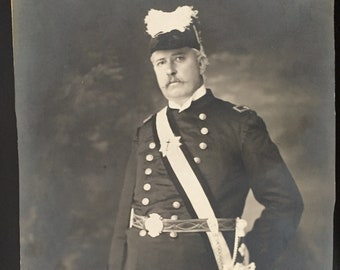 Original black and white photograph from the late 1800s of a gentleman in his Masonic / Knights Templar uniform