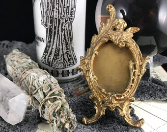 Small Brass Angel Picture Frame. Miniature Table Top Gilt Angel Picture Holder. Ornate Tiny Angel Adorned Oval Frame. Angelic Memento Mori