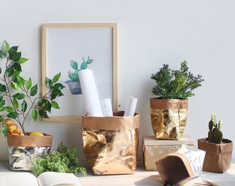 Eco Friendly Washable Metallic Kraft Paper Flower & Mini Succulent Pot