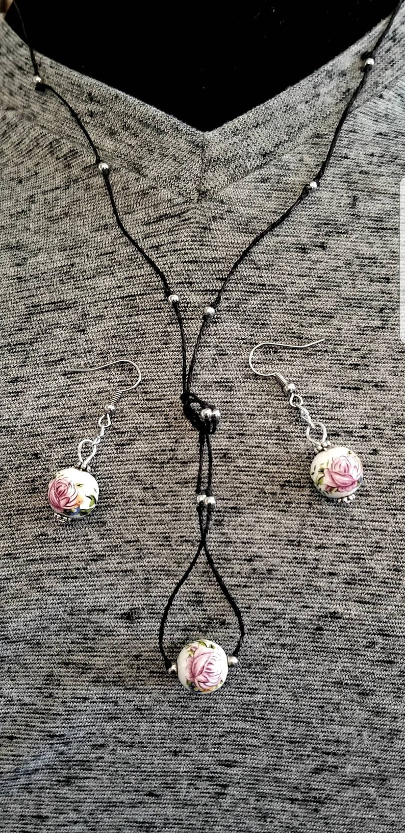 Ceramic Rose and Beads MinimalistBoho Necklace on a Hemp Cord with Matching Earrings