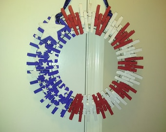 Red, white and blue Clothespin wreath