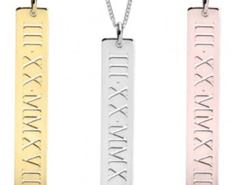 Roman Numeral Custom Name Necklace