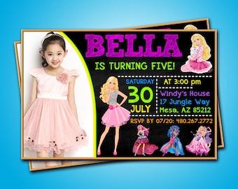 Barbie Birthday InvitationPersonalized Party InvitationsBarbie PartyBarbie InviteBarbie Invitation