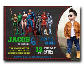 Justice league birthday invitation etsy justice league birthday invitation with photosuperheroes birthday invitation with photoavengers birthday invitation with photo stopboris Images
