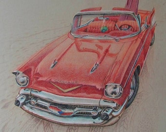 Original color pencil drawing, 1957 chevy on the beach