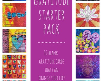 Gratitude Starter Pack | Hundred Hearts Project | 10 Blank Notecards | Art Notecards