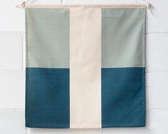 Blue Stripe Fabric Wall Flag