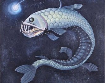 """Anglerfish 20"""" x 20"""" oil painting on canvas"""