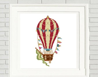 Balloon cross stitch hot air balloon vintage style boho chic boho cross stitch embroidery pattern #10-004