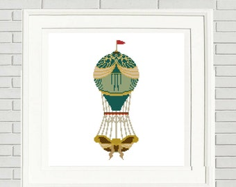 Balloon cross stitch hot air balloon vintage style boho chic boho cross stitch embroidery pattern #10-005