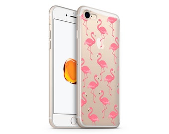 Clear Flamingos phone case design for iPhone Cases, Samsung Cases, Google Pixel Cases and One Plus 5 Cases
