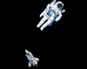 Freedom - Astronaut floats in space abover the earth - art poster print