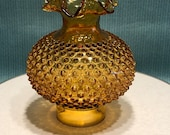 Vintage Fenton Amber Hobnail Oil Lamp Light Shade Double Ruffle Crimped