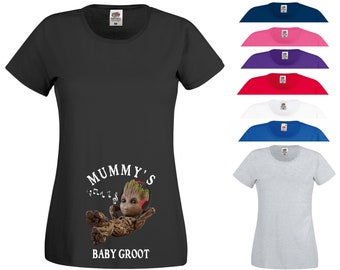 cf570a55e Mummy's Baby Groot T Shirt Pregnancy Maternity Marvel Comics MCU Guardians  of The Galaxy Christmas Theme Party Gift Women Tee Top XS-2XL
