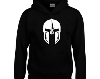Spartan Warrior Helmet Distressed Look Customized Black Graphic Hoodie Hoodies & Sweatshirts