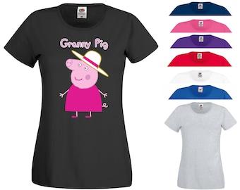 2a3f410007 Granny Pig T Shirt Grand Mother Mother's Day Mom Mum Grandma Funny Joke Peppa  Pig Funny Joke Birthday Gift Women Ladies Tee Top XS-2XL