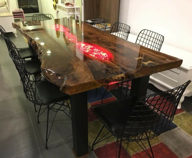 Sold ! Live Edge, Epoxy Resin, Walnut Tree, New Series LED, dining table  with bottom light, Decor, Office, Garden, Balcony table