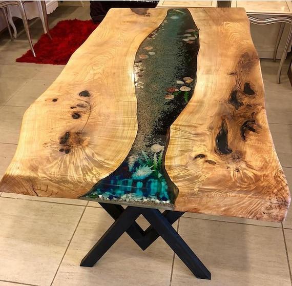 Tisch, Epoxidharz Asche Baum Tisch, Harz Tisch, einzigartige Tisch, Küche, Wohnzimmer, Büro, Dekor Tisch