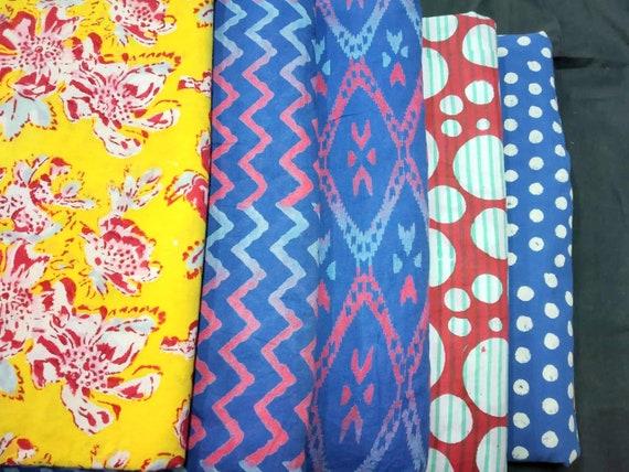 Indian Hand Block Print Cotton Fabric Natural Printed Handmade Vintage Dress Fab