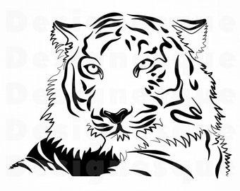 Tiger Outline Svg Etsy