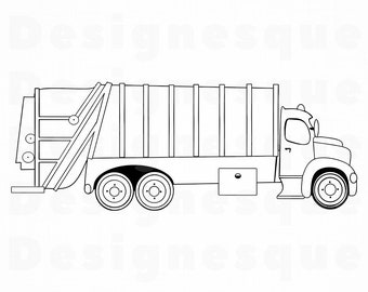 Garbage Truck Outline SVG Dump Svg Clipart Files For Cricut Cut Silhouette Dxf Png Vector