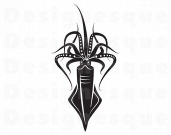 Giant Squid SVG Kraken Svg Clipart Files For Cricut Cut Silhouette Dxf Png Eps Vector