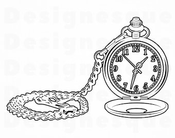 480fd0572 Pocket Watch Outline SVG, Pocket Watch Svg, Watch Svg, Pocket Watch Clipart,  Files for Cricut, Cut Files For Silhouette, Dxf, Png Eps Vector