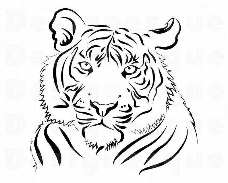 Tiger 4 Svg Tiger Svg Tiger Outline Tiger Clipart Tiger