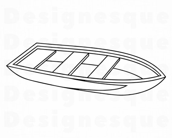 Boat Outline Svg Fishing Svg Boat Clipart Boat Files For Etsy
