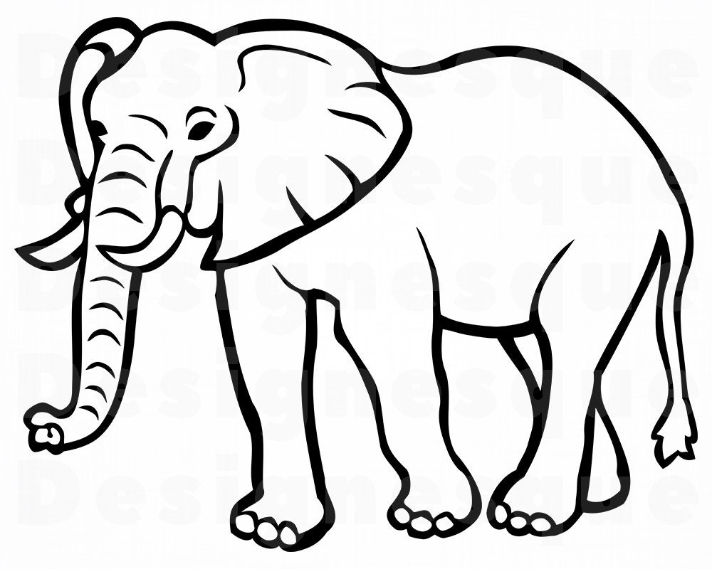 Elephant Outline SVG Elephant SVG Elephant Outline Clipart