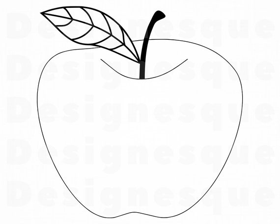 Apple Outline Svg Apple Svg Apple Clipart Apple Files For Etsy