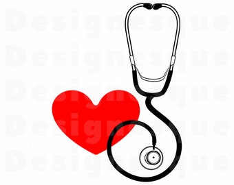 Stethoscope SVG, Stethoscope Heart SVG, Stethoscope Clipart, Stethoscope Files for Cricut, Cut Files For Silhouette, Dxf, Png, Eps, Vector