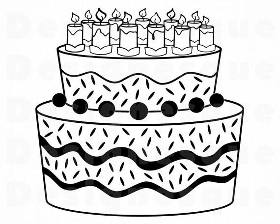 Cake 10 Svg Birthday Cake Svg Cake With Candles Cake Etsy