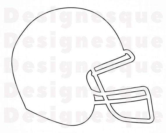Football Helmet Outline 4 Svg Football Helmet Clipart Etsy