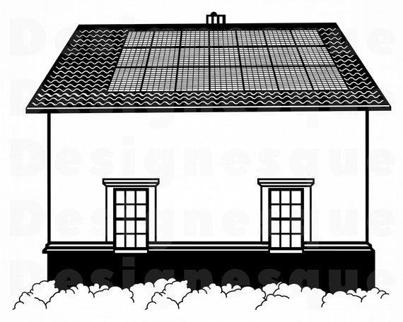 House With Solar Panel Svg Renewable Energy Svg Roof Svg Etsy