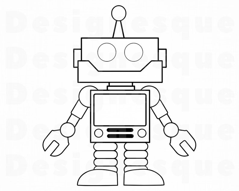 Robot Outline 2 Svg Robot Svg Alien Svg Robot Clipart