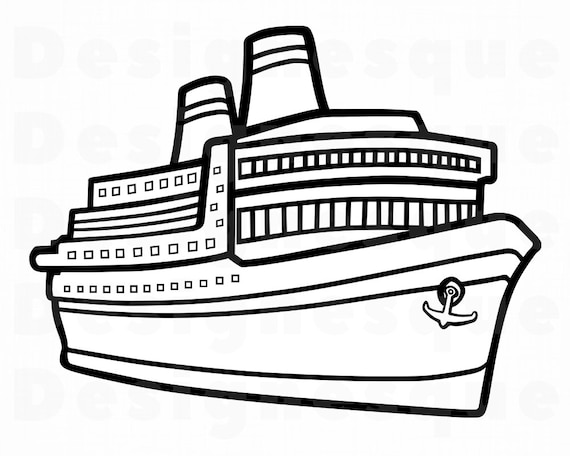 Cruise Ship Outline SVG Vacation SVG Cruise Ship Clipart